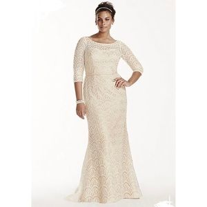 Oleg Cassini boatneck 3/4 sleeve wedding dress 18w